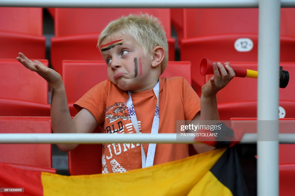 Belgium supporter reacts during the Russia 2018 World Cup Group G football match between Belgium and Tunisia at the Spartak Stadium in Moscow on June 23, 2018. (Photo by PATRIK STOLLARZ / AFP) / RESTRICTED