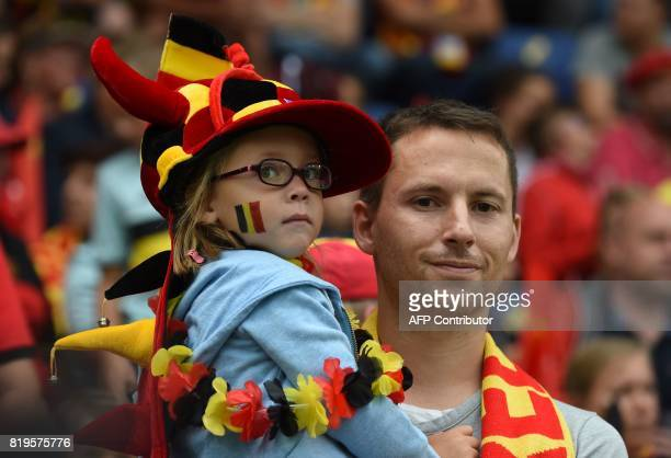 Belgium supporters attend the UEFA Womens Euro 2017 football match between Norway and Belgium at the Rat Verlegh Stadium in Breda on July 20 2017 /...