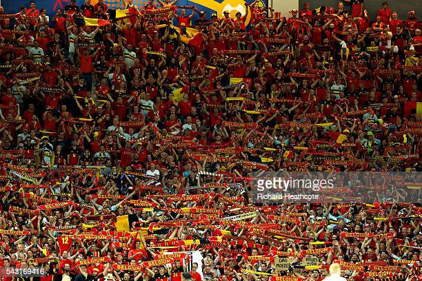 Belgium supporters celebrate their team's fourth goal during the UEFA EURO 2016 round of 16 match between Hungary and Belgium at Stadium Municipal on...