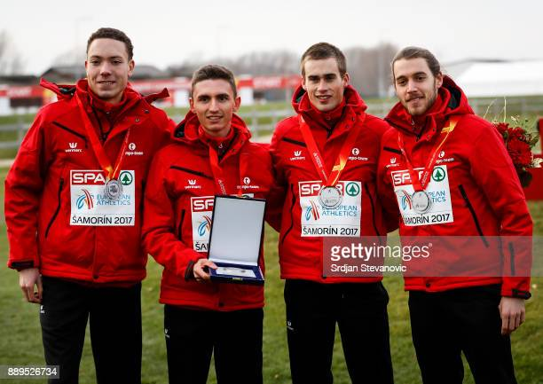 Belgium team celebrate their Silver Medal during the U23 Men's award ceremony during the SPAR European Cross Country Championships on December 10...