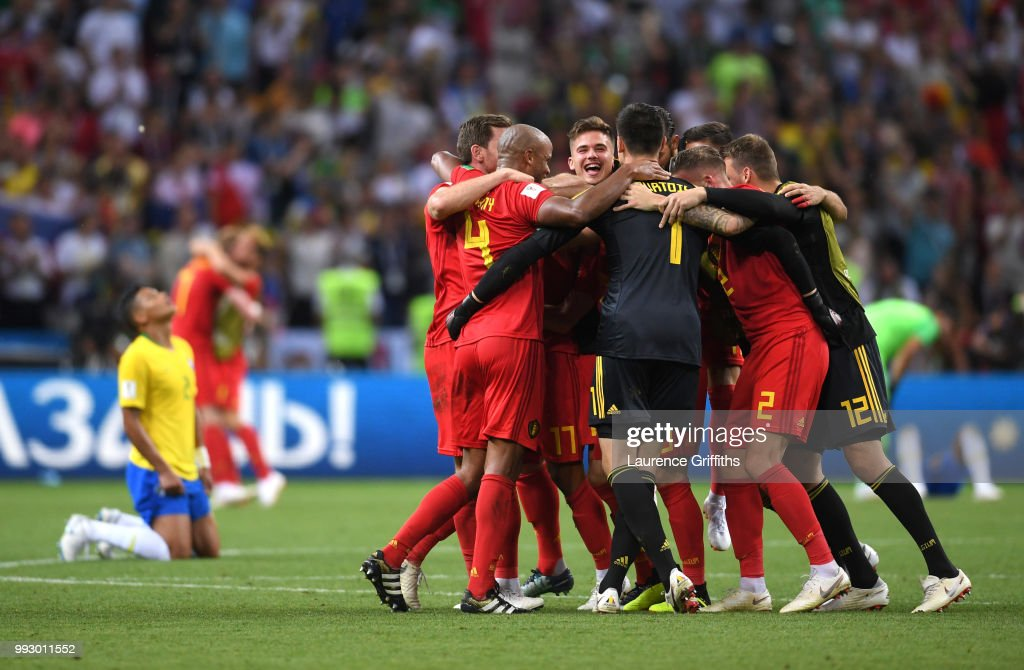 Belgium team celebrate their victory following the 2018 FIFA World Cup Russia Quarter Final match between Brazil and Belgium at Kazan Arena on July 6, 2018 in Kazan, Russia.