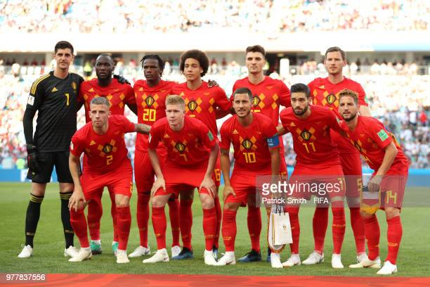 Belgium team lines up prior to the 2018 FIFA World Cup Russia group G match between Belgium and Panama at Fisht Stadium on June 18 2018 in Sochi...