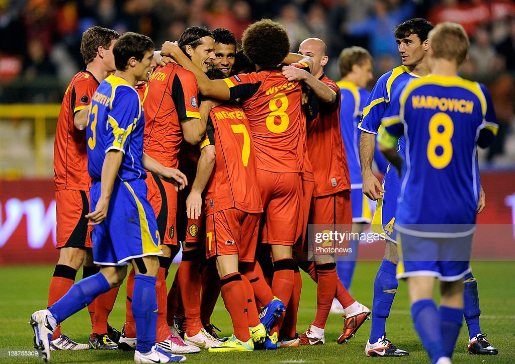 Belgium team-mates celebrate their 3-0 goal, scored by Vincent Kompany, during the UEFA EURO 2012 Group A qualifying match between Belgium and Kazakhstan at King Baudouin Stadium on October 7, 2011 in Brussels, Belgium.