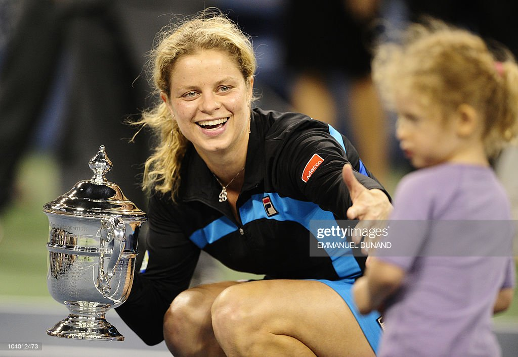 Belgium tennis player Kim Clijsters hold : News Photo