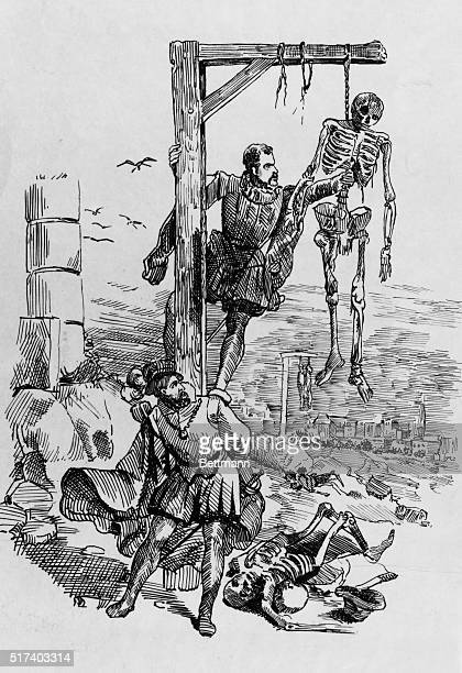 Vesalius and friend Gemma stealing skeletons from gallows on outskirts of Louvain they tore torsos apart to smuggle them piecemeal through town gates...