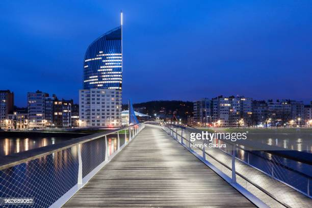 belgium, wallonia, liege, footbridge and cityscape - liege stock pictures, royalty-free photos & images