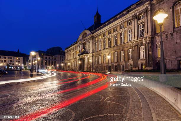 Belgium, Wallonia, Liege, Palace of the Prince Bishops and city street