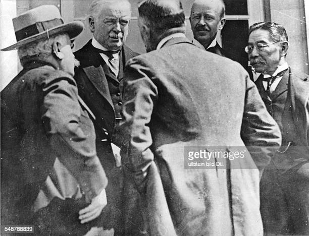 Belgium Wallonie Spa Conference Delegates of the Allies of WW I from the left a Japanese delegate Italian Foreign Minister Count Sforza British Prime...