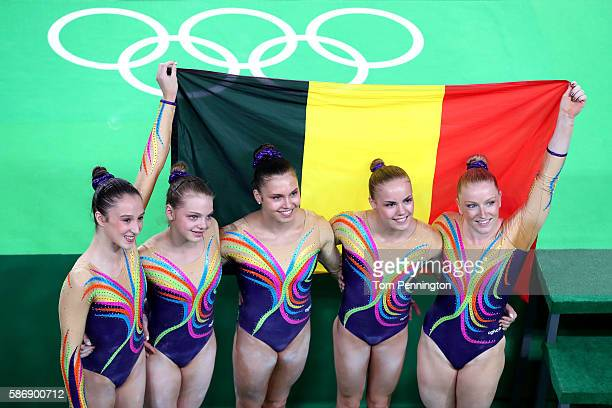 Belgium Women's Artistic gymnastics team celebrate after Women's qualification for Artistic Gymnastics on Day 2 of the Rio 2016 Olympic Games at the...