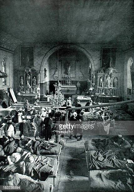 Belgium World War I In Ypres out of the range of German artillery an ambulance installed in the nave of a church