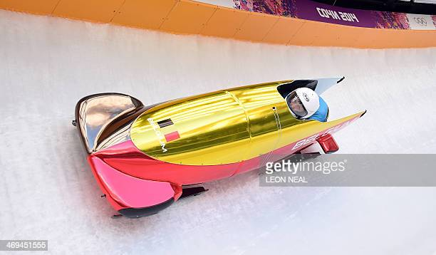 Belgium1 twowoman bobsleigh steered by Elfje Willemsen takes a practice run during a training session at the Sanki Sliding Center in Rosa Khutor...