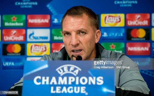 Celtic manager Brendan Rodgers gives a press conference ahead of their Champions League match against Anderlecht