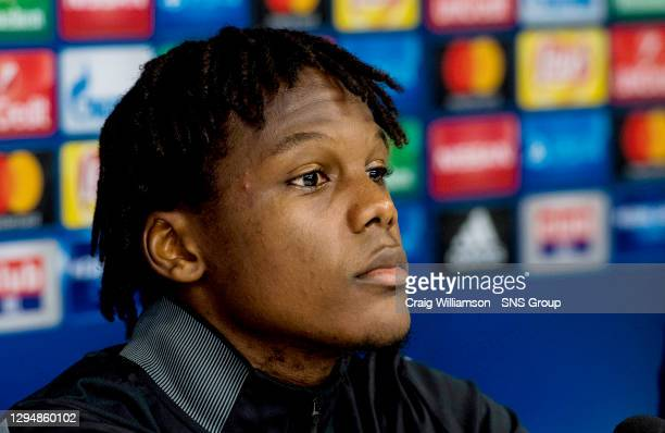 Celtic's Dedryck Boyata gives a press conference ahead of their Champions League match against Anderlecht