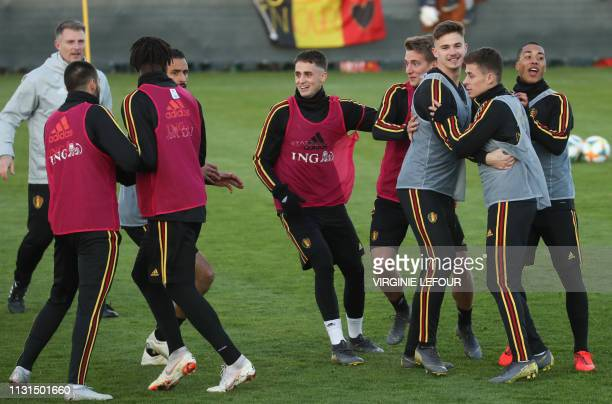 Belgium's Adnan Januzaj pictured during a training of Belgian national soccer team Red Devils Monday 18 March 2019 in Tubize The team is preparing...