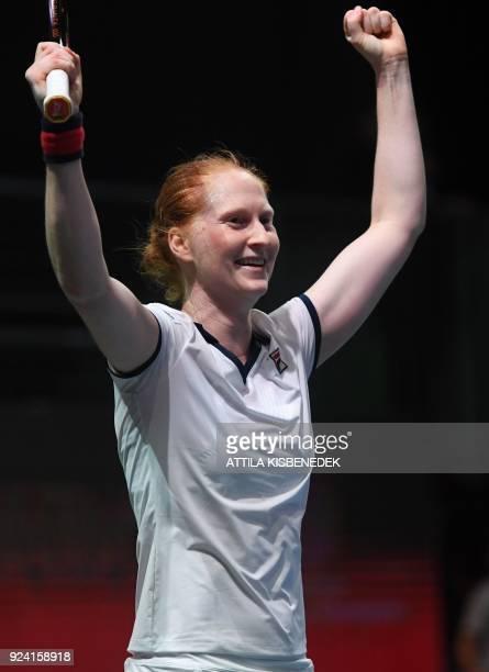 Belgium's Alison Van Uytvanck celebrates her victory over Slovakia's Dominika Cibulkova after their final match of the WTA Hungarian Open Ladies'...
