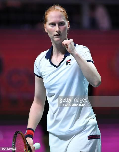 Belgium's Alison Van Uytvanck reacts during her final match of the WTA Hungarian Open Ladies' tennis tournament against Slovakia's Dominika Cibulkova...