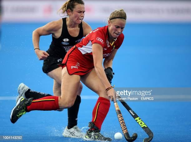 Belgium's Alix Gerniers and New Zealand's Kelsey Smith in action New Zealand v Belgium Women's Hockey World Cup 2018 Pool D Lee Valley Hockey Tennis...