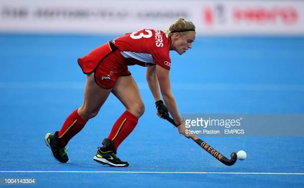 Belgium's Alix Gerniers in action New Zealand v Belgium Women's Hockey World Cup 2018 Pool D Lee Valley Hockey Tennis Centre