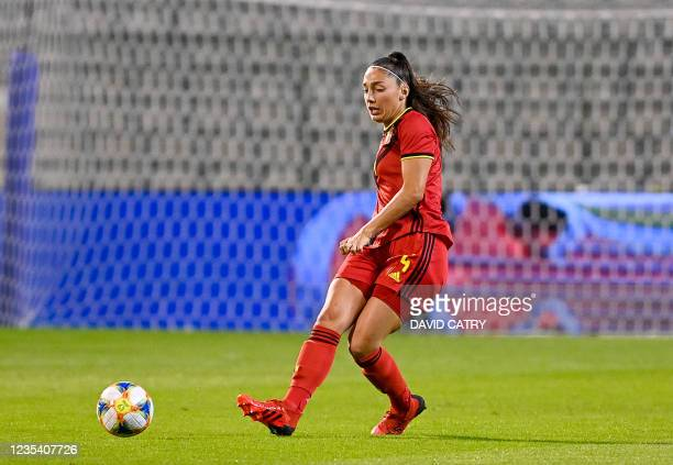 Belgium's Amber Tysiak pictured in action during a soccer game between Belgium's national team the Red Flames and Albania, Tuesday 21 September 2021...