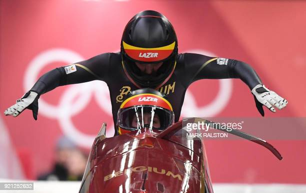 TOPSHOT Belgium's An Vannieuwenhuyse and Belgium's Sophie Vercruyssen compete in the women's bobsleigh heat 1 run during the Pyeongchang 2018 Winter...