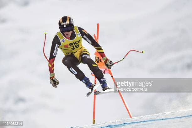 Belgium's Armand Marchant competes in the Downhill race of the men's Alpine Combined event at the FIS Alpine Skiing World Cup in Wengen on January 17...