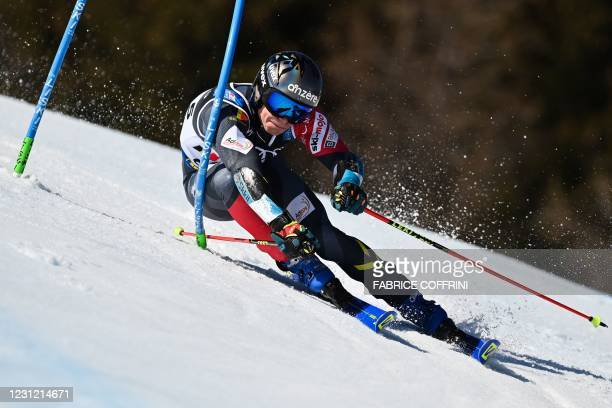Belgium's Armand Marchant competes in the round of 16 series during the Team Parallel event on February 17, 2021 at the FIS Alpine World Ski...