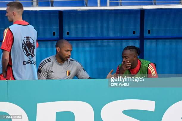 Belgium's assistant coach Thierry Henry and Belgium's Michy Batshuayi pictured at a training session of the Belgian national soccer team Red Devils,...