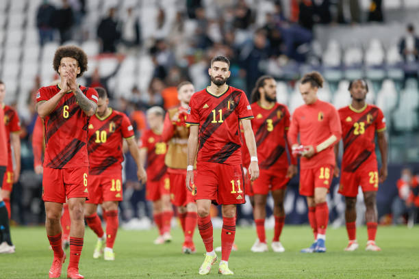 Belgium's Axel Witsel and Belgium's Yannick Carrasco look dejected after a soccer game between Belgian national team Red Devils and France, the...