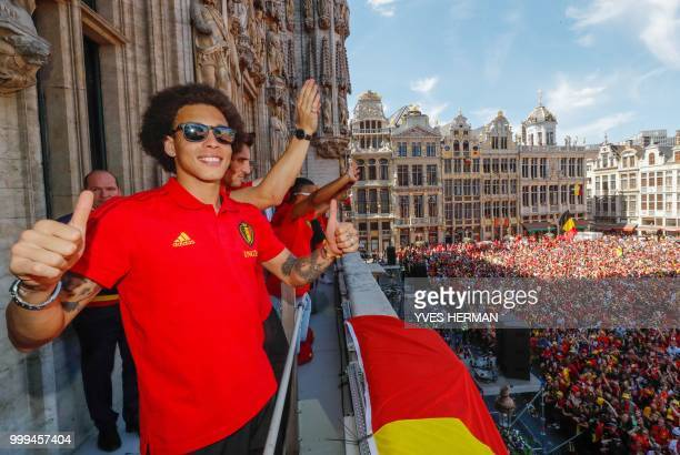 Belgium's Axel Witsel celebrates at the Grand Place/Grote Markt in Brussels city center as Belgian national football team Red Devils arrive to...