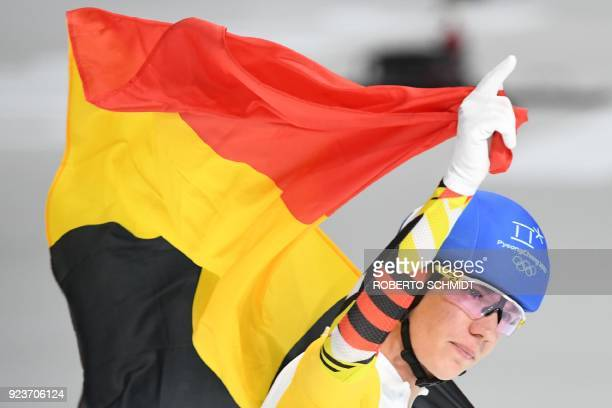 TOPSHOT Belgium's Bart Swings celebrates his silver medal win in the men's mass start final speed skating event during the Pyeongchang 2018 Winter...