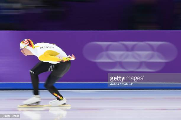 Belgium's Bart Swings competes in the men's 10,000m speed skating event during the Pyeongchang 2018 Winter Olympic Games at the Gangneung Oval in...
