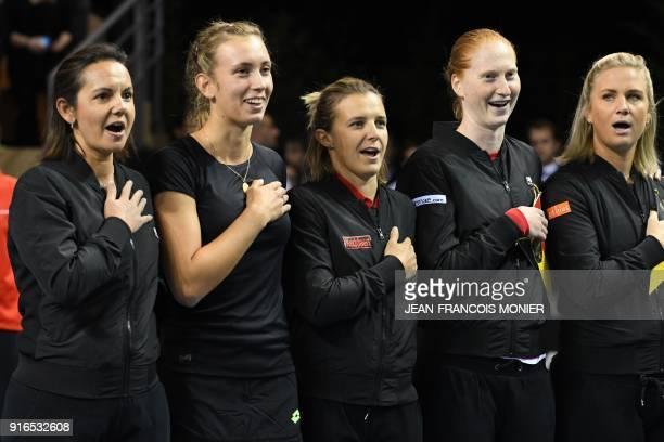 Belgium's captain Dominique Monami Belgium's Elise Mertens Belgium's Kirsten Flipkens Belgium's Alison Van Uytvanck and Belgium's Ysaline Bonaventure...