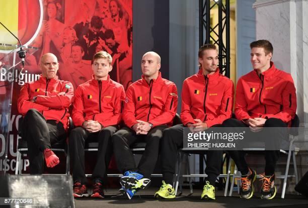 Belgium's captain Johan Van Herck sits next to his players David Goffin, Steve Darcis, Ruben Bemelmans and Arthur de Greef during the team...
