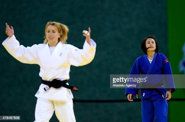 Belgium's Charline van Snick celebrates her wining over Turkey's Ebru Sahin during their women's 48kg judo final match at the 2015 European Games in...