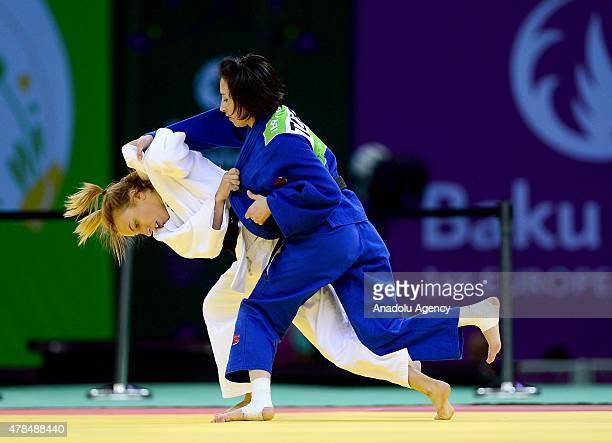 Belgium's Charline van Snick competes against Turkey's Ebru Sahin during their women's 48kg judo final match at the 2015 European Games in Baku on...