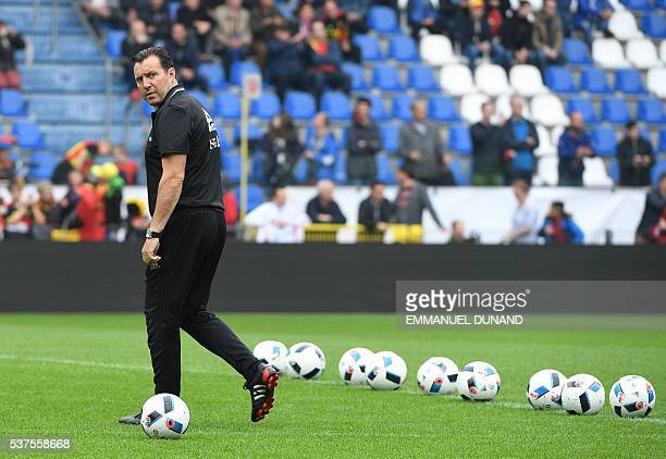 Belgium's coach Marc Wilmots takes part in a training session ahead of the upcoming Euro 2016 UEFA European Championship in Genk on June 2 2016 / AFP...