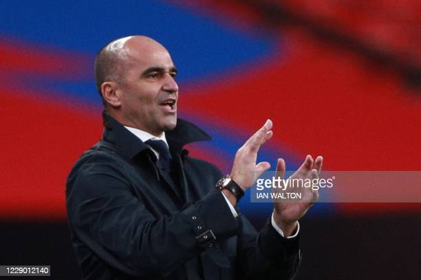 Belgium's coach Roberto Martinez gestures during the UEFA Nations League group A2 football match between England and Belgium at Wembley stadium in...