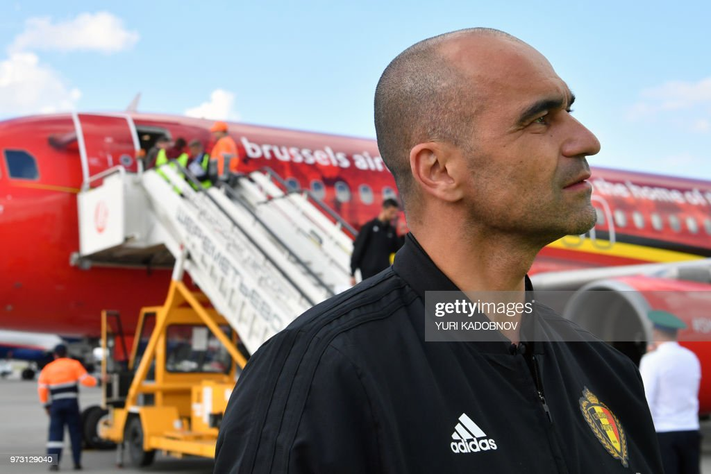 Belgium's coach Roberto Martinez speaks to the media upon the team's arrival at Moscow's Sheremetyevo airport on June 13, 2018, ahead of the Russia 2018 World Cup football tournament.