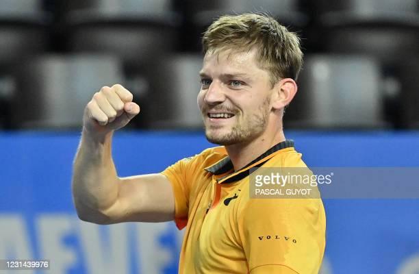 Belgium's David Goffin celebrates as he wins the final of the ATP World Tour Open Sud de France tennis tournament against Spain's Roberto Bautista...