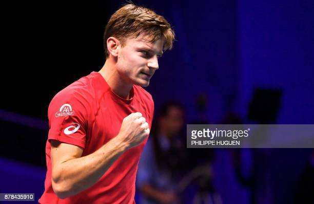 Belgium's David Goffin reacts after winning a point against France's Lucas Pouille during the Davis Cup World Group singles rubber final tennis match...