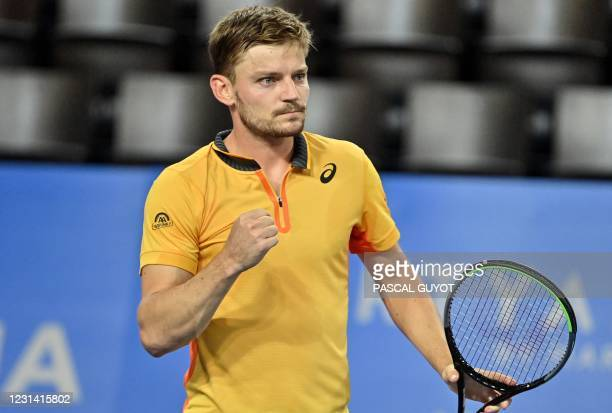Belgium's David Goffin reacts after winning during the Open Sud de France ATP World Tour event semi-final tennis match in Montpellier, southern...