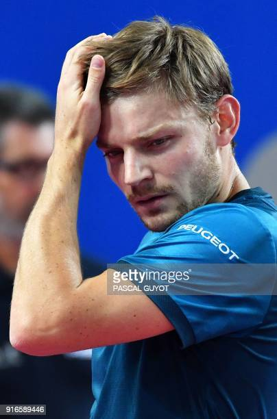 Belgium's David Goffin reacts against France's Richard Gasquet during their ATP World Tour Open Sud de France semi final tennis match in Montpellier...