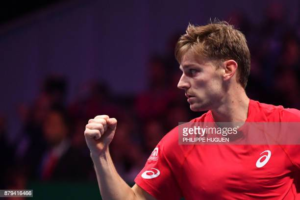 TOPSHOT Belgium's David Goffin reacts during his singles rubber 4 of the Davis Cup World Group final tennis match between France and Belgium at The...