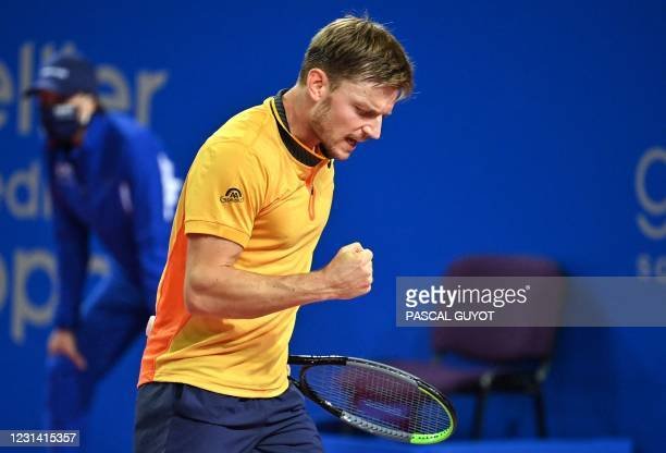 Belgium's David Goffin reacts during the Open Sud de France ATP World Tour event semi-final tennis match in Montpellier, southern France, on February...