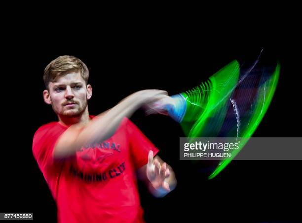 Belgium's David Goffin returns the ball during a training session at the PierreMauroy Stadium in Villeneuve d'Ascq on November 22 ahead of the Davis...