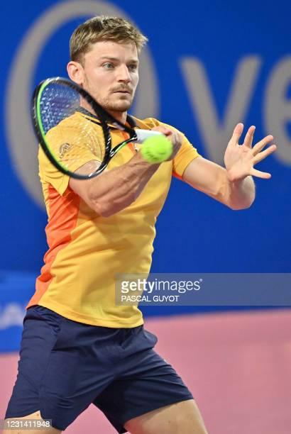Belgium's David Goffin returns the ball to Belarus's Egor Gerasimov during their singles semi-final tennis match at the Open Sud de France ATP World...