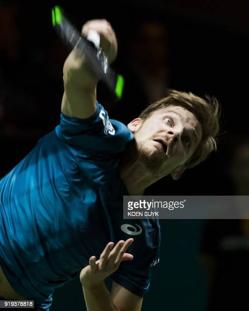 Belgium's David Goffin returns the ball to Bulgaria's Grigor Dimitrov during their semi final match of the ABN Amro World Tennis Tournament in...