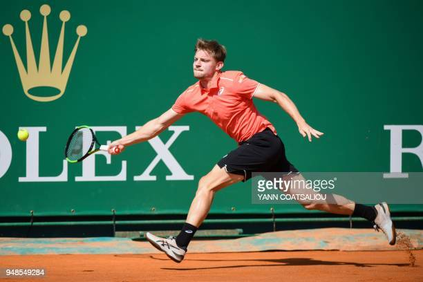 Belgium's David Goffin returns the ball to Spain's Roberto Bautista Agut during their tennis match as part of the MonteCarlo ATP Masters Series...