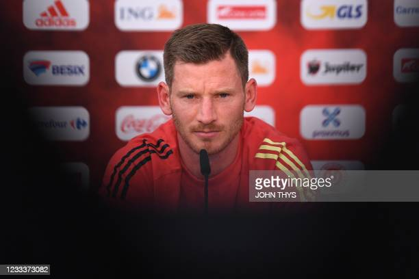 Belgium's defender Jan Vertonghen holds a press conference at the team's base camp at the Belgian National Football Centre in Tubize on June 10, 2021...