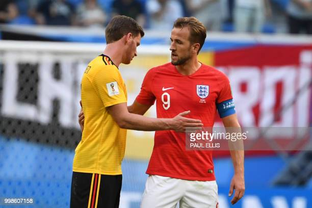 Belgium's defender Jan Vertonghen talks to England's forward Harry Kane after their Russia 2018 World Cup playoff for third place football match...